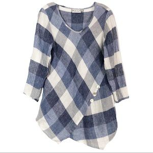 Habitat Clothes to Live In Blue Plaid Blouse